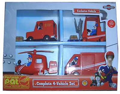 Complete 4-Vehicle Set with Exclusive Postman Pat Forklift Truck